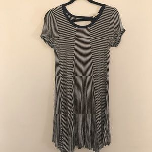 Navy Blue & Cream striped flowy Shirt